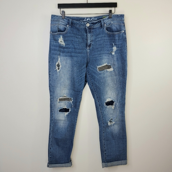 INC International Concepts Denim - INC Denim Distressed Patchwork Straight Leg Jeans